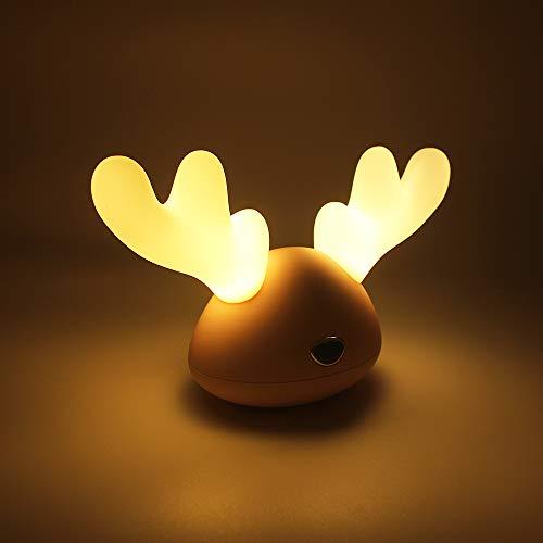 DITINEK - Lámpara de noche recargable para niños con luz LED de respiración para bebés y niñas, diseño de alce