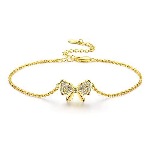 TANGPOET Pulsera de mariposa de plata de ley 925 para mujer, con circonita cúbica, ajustable, regalo para mamá, hija, esposa, hermana, cumpleaños, chapado en oro