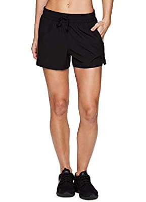 RBX Active Women's Lightweight Stretch Woven Athletic Casual Lounge Walking Short with Pockets Black Solid S