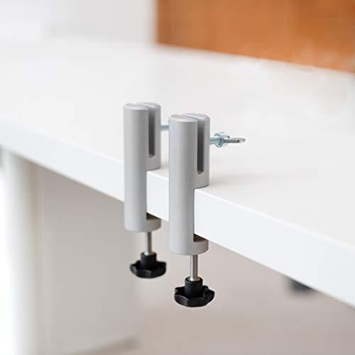 Tischklemmen Rund | Silber | für Hygieneschutzwand (3-5mm) - 2 Stück, höhenverstellbare Schreibtische ideal, Tischklemme werkzeuglose Anbringung, für Büro Max Tischplatte: 32mm (SILBER)