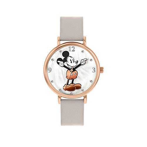 Disney - orologio da donna con cassa in oro rosa e cinturino grigio, Topolino, codice DM809C
