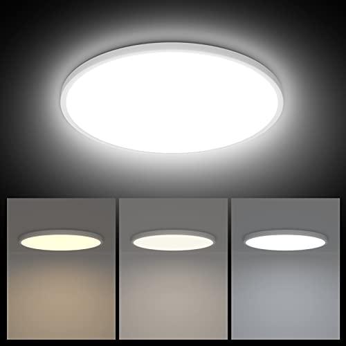 K-Bright Lámpara de Techo Regulable 38W Plafon Led Techo Regulable 3000K/4000K/6000K, Moderna LED Plafón de Techo Redonda Luz para Cocina, Salón, Dormitorio, Ø40cm, Blanco