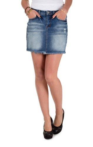 VERO MODA Damen Jeansröcke Adele LW Short Studs Skirt Den, Dark Blue, W34