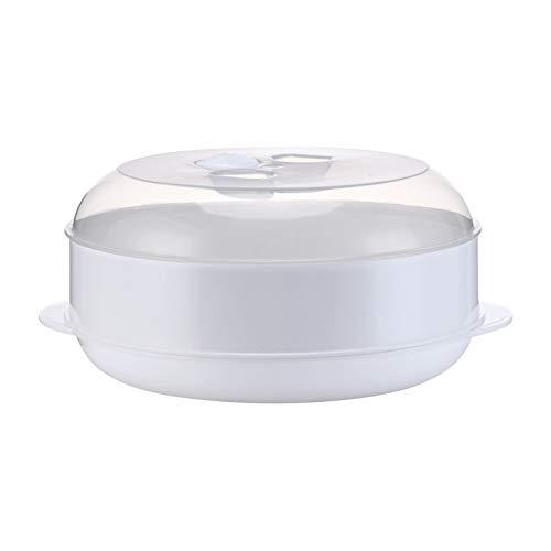 MARIJEE Vaporizador de plástico redondo para microondas, olla de arroz, resistente al calor, de una sola capa, con tapa herramienta de cocina (1 capa)