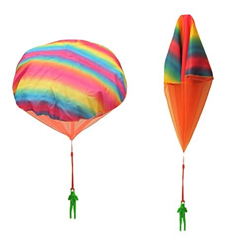 VALICLUD 2Pcs Mini Fallschirm Männer Fallschirm Figur Fallschirmjäger mit Fallschirm Spielzeug Set Hände Werfen Fallschirm Mann mit Licht Im Freien Fliegen Spielzeug Bunte