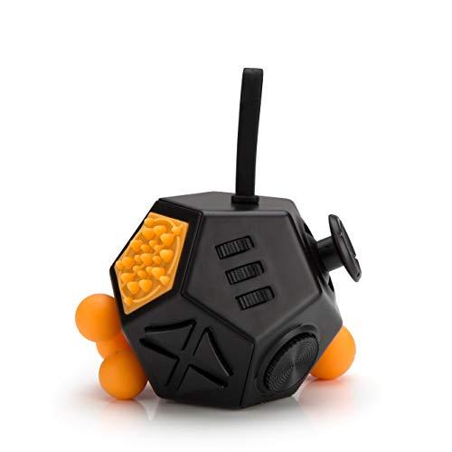 lovigo Amazing Cube - 12 Seiten Anti-Stress-Würfel Stresslöser Konzentration Kinder Erwachsene - Schwarz mit orangenen Knöpfen