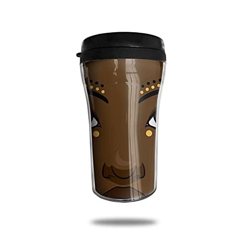 OUYouDeFangA Taza de café de viaje para mujer con turbante tribal africana, 3d impresa, taza de té aislada, botella de agua para beber con tapa, 250 ml