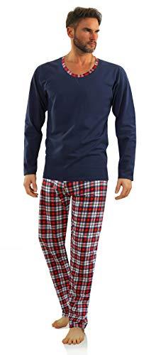 Sesto Senso Herren Schlafanzug Lang Pyjama 100% Baumwolle Langarm Shirt mit Tasche Pyjamahose Zweiteilig Set Nachtwäsche Dunkelblau Navy blau Kariert L Granat WALDI