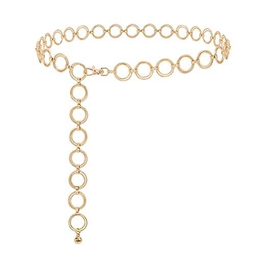 XIAOWU Cadena para cinturón, cadena para vestido, cadena de metal para mujer, estrella de luna y sol, cadena para cinturón D-oro. 125 cm