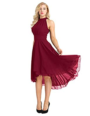 ACSUSS Women's Sleeveless Halter Neck Bridesmaid Dress High Low Evening Prom Flare Dresses Wine Red 4