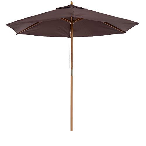 Outsunny Sombrilla Parasol de Patio Altura 2,3m Terraza Jardin Diametro 2,5m Color Cafe