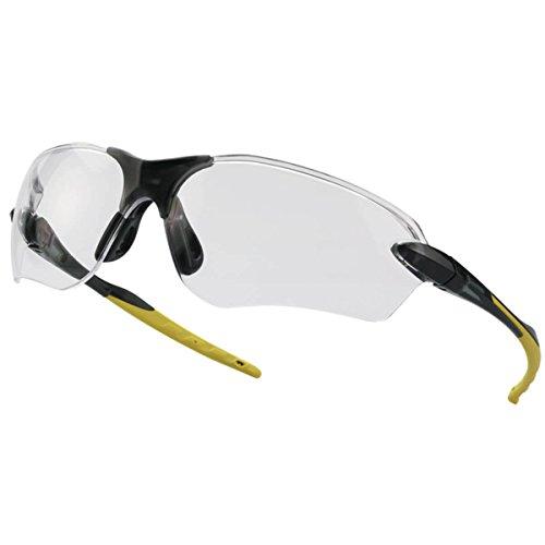 Tector Flex klar Schutzbrille | Schwarz-Gelb | EN 166 Zertifiziert | Kratzfest | klare Scheibe | elastische Brillen- und Nasenbügel | Gute Qualität Leicht sportliches Design