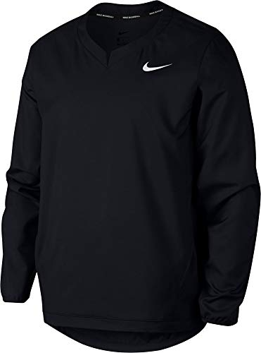Nike Men's Long Sleeve Baseball Pullover Jacket (Black/Large)
