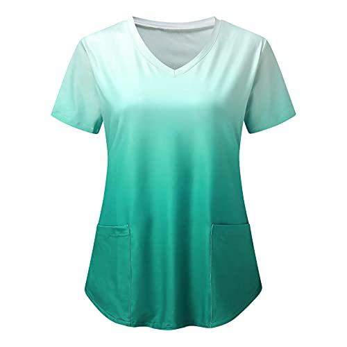 XIAOHUAHUA Uniformen Damen V-Ausschnitt Comfy mit Taschen große größen Berufsbekleidung Pflege Schlupfkasack Krankenschwester Krankenhaus Pflegebekleidung Tee Tops Shirt Tunika