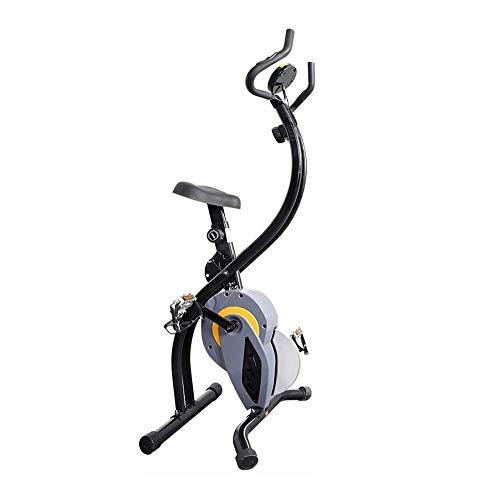 UIZSDIUZ Plegable magnético Vertical Bicicleta estática, Cubierta Bicicleta estacionaria con 8 Niveles Ajustables magnéticos Bandas elásticas y Brazo de Entrenamiento