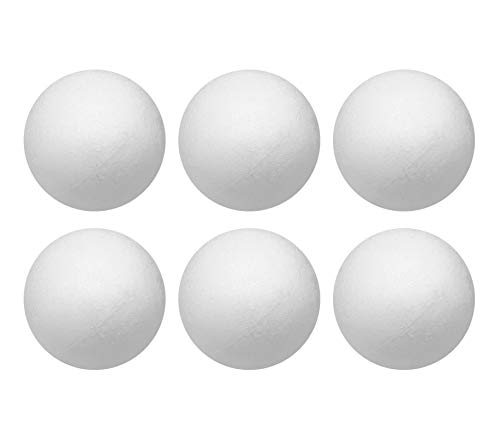 Crafjie Craft Foam Balls 6 Inches Diameter 6-Pack, Smooth Polystyrene Styrofoam Round Foam Balls, for DIY Arts and Crafts, Ornaments, Balls for Decoration Household School Projects DIY, White