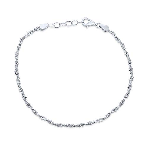 Twisted Bead Snake Chain Anklet Hot Wife Ankle Bracelet For Women 925 Sterling Silver 9-10 Inch Extender