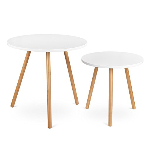 HOMFA Nesting Coffee End Tables Modern Furniture Decor Round Side Table for Living Room Balcony Home and Office ( White, Set of 2 )