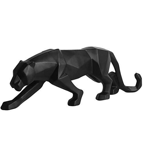 AMITD 4 Farbe Geometrische Black & White Leopard Statue Moderne Abstrakte Harz Tier Panther Figur Dekoration Ornamente Skulptur 1 Stück, Schwarz, Kleine10 Zoll