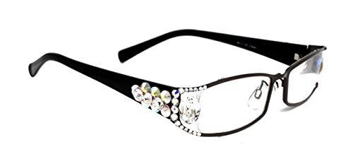 Lollapalooza, Bling Women Reading Glasses with AB (Aurora Borealis) + Crystal Clear Swarovski Crystals +1.25 +1.50 +1.75 +2.00 +2.25 +2.50 +2.75, Black Frame, Fancy Oval Big Crystal. NY Fifth Avenue.