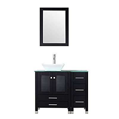 "BATHJOY 36"" Modern Wood Bathroom Vanity Cabinet White Square Ceramic Vessel Sink Top Free Faucet Drain Combo with Mirror"
