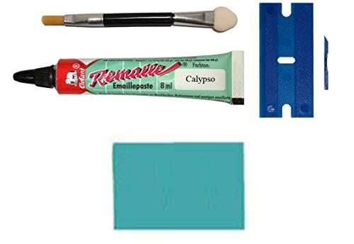 Calypso Türkis Emaille Paste/Lack Reparaturset für Bad, Fliesen, Keramik, Autolack, Holz, Laminat uvm. im praktischen Set mit 8 ml Elefant Emaille, Kunststoffspachtel & Pinsel von MY-B-Style