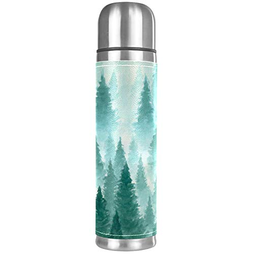 TIZORAX Forest in the Mist Copa de vacío de doble pared de acero inoxidable aislado a prueba de fugas botella de agua taza de viaje termo taza de café 17 oz