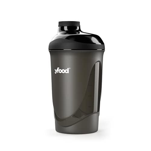yfood Shaker   Eiweiß Shaker mit erstklassiger Mischfunktion  mit Infusion Sieb   Hochwertiger Protrein-Shake Becher   Schwarz   600ml