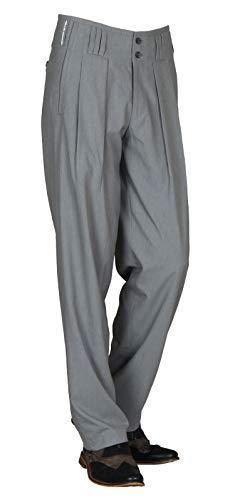 H K Mandel Bundfaltenhose in Grau Model Boogie Retro Vintage Stil, Business Anzughose Hose aus Baumwollmischung mit Extraweit geschnittenen Beinen Größe 54
