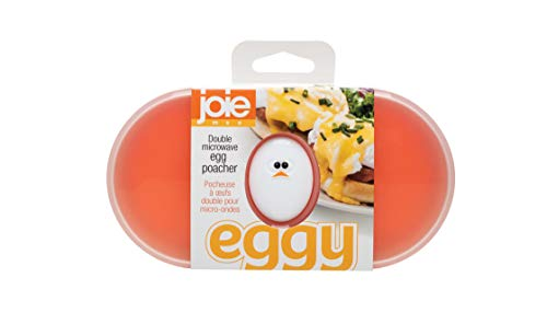 Joie 50527 Double Microwave Egg Poacher, Non-Stick Silicone, LFGB Approved, One Size, White