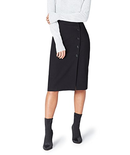 Marca Amazon - find. Falda de Botones para Mujer, Negro (Black), 38, Label: S
