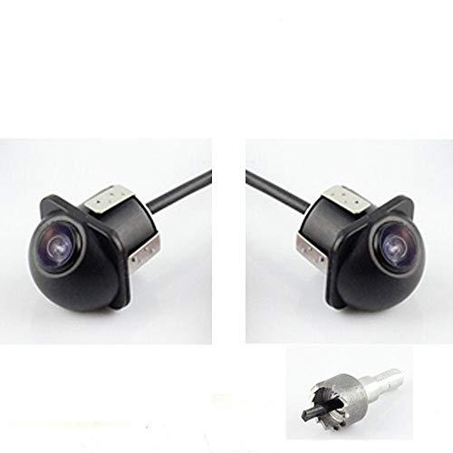 Auto PKW Paar Seitenkamera Rückfahrkamera Seitenspiegel Montage 18.5mm Bohren Lochsäge Flush Mount Spiegelbild Nein Distanzlinien Einparkhilfe für Auto Monitor Stereo Cinch - Packung mit 2 12V