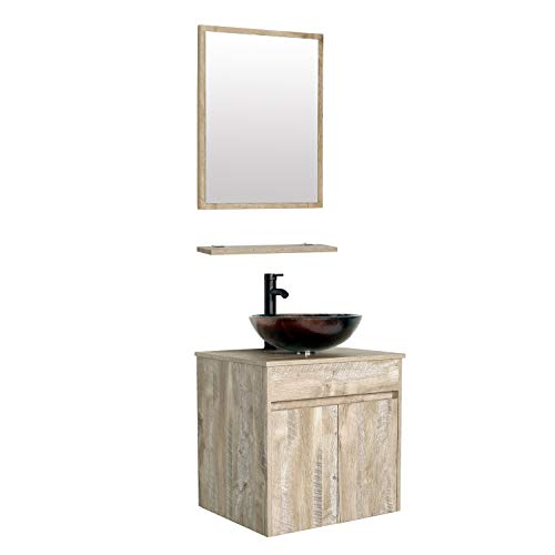 """eclife 24"""" Bathroom Vanity Sink Combo Wall Mounted Natural Cabinet Vanity Set Brown Round Tempered Glass Vessel Sink Top, W/ORB Faucet, Pop Up Drain & Mirror (A09E03AK)"""