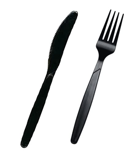 200 Pc Set Premium Quality Black Plastic Cutlery | 100 Forks + 100 Knives | Reusable Heavy Duty Plastic Cutlery for Parties, Everyday Tableware Dinnerware Home Office take Away