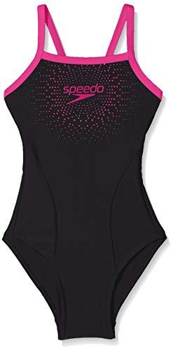 Speedo Gala Logo Thinstrap Muscleback, Costume da Bagno Bambina, Nero (Black/Pink), 9-10 Anni
