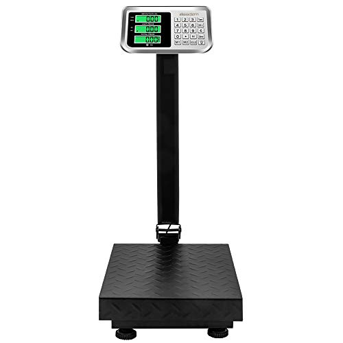 SSLine 220LBS Weight Computing Postal Scale Heavy Duty Digital Platform Scale Folding Floor Shipping Scale Eletronic Bench Scale with Large Platform/LCD Display Big Scale for Mailing Luggage Package