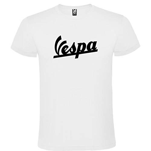 ROLY Camiseta Blanca con Logotipo de Vespa Hombre 100% Algodón Tallas S M L XL XXL Mangas Cortas (XXL)