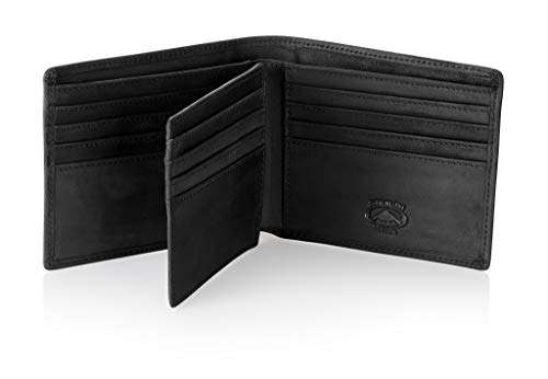 Stealth Mode Leather Bifold Wallet for Men With ID Window and RFID Blocking (Black)
