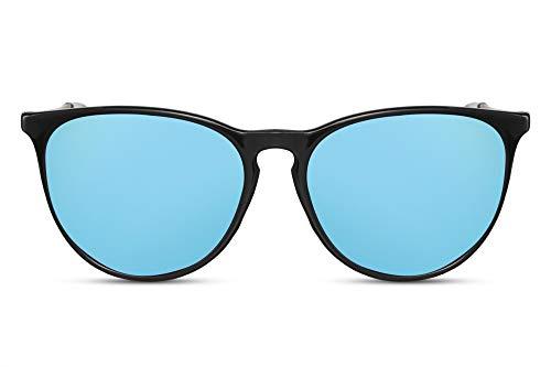 Cheapass Gafas de Sol Negro Brillante Montura Azul Espejadas Redondas Cristales Vintage...