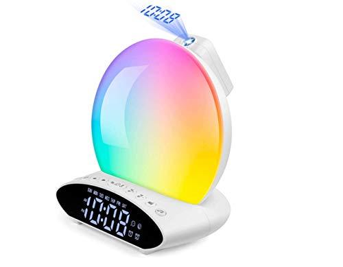 Lanlan Ting Wecken Sie leichten Sonnenaufgang Wecker-Uhr mit Projektion, 7-Farben-Licht, Doppelalarm, UKW-Radio, Nachtlicht, Nachttischlicht, USB-Player für Kinderzimmer für Erwachsene