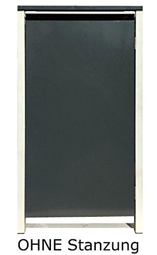 BBT@   Hochwertige Mülltonnenbox für 3 Tonnen je 240 Liter mit Klappdeckel in Silber / Aus stabilem pulver-beschichtetem Metall / Ohne Stanzung / In verschiedenen Farben sowie mit unterschiedlichen Blech-Stanzungen erhältlich / Mülltonnenverkleidung Müllboxen Müllcontainer - 6