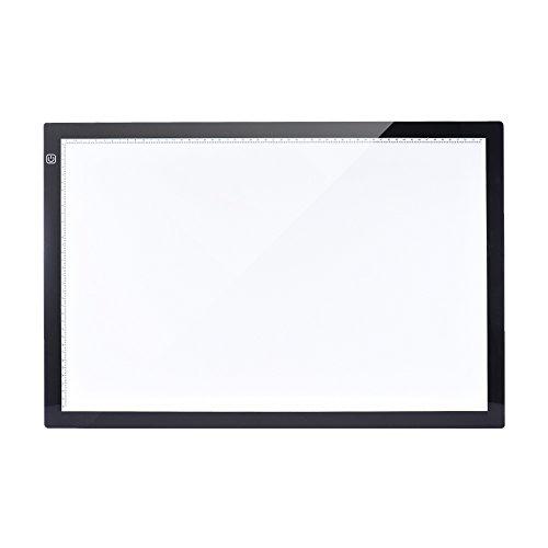 Aibecy Mesa de Luz Tableta Caja Dibujo A2 LED Portátil para calcar de Art Display Tablero del panel de copia Cable Pad con cable USB- 26 Pulgadas Brillo Ajustable en 3 Niveles con Base Multifuncional