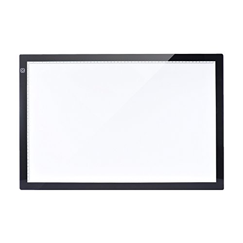 Aibecy Mesa de Luz Tableta Caja Dibujo A2 LED Portátil para calcar de Art Display Tablero del panel de copia Cable Pad con cable USB- 26 Pulgadas Brillo Ajustable en 3 Niveles con Base Multifuncional