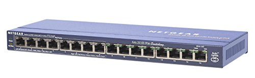 NETGEAR FS116PEU 16-Port Fast Ethernet LAN PoE Switch Unmanaged (10/100 MBit/s, mit 8x PoE 70W)