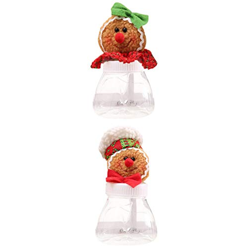 NUOBESTY 2Pcs Christmas Candy Jar Gingerbread Man Cookie Jar Plastic Candy Storage Container Candy Cans Decoration