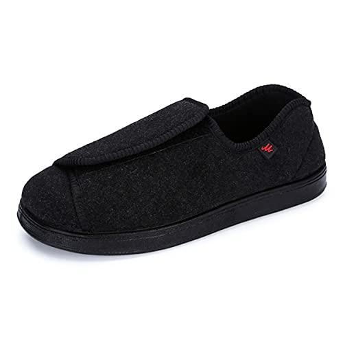 Zapato Diabético para Mujer  Zapato Extra Ancho para Caminar Ajustable Edema Zapatillas De Deporte Confort Ancianos Hinchados Pies De Verano Sandalia Negro 39 EU