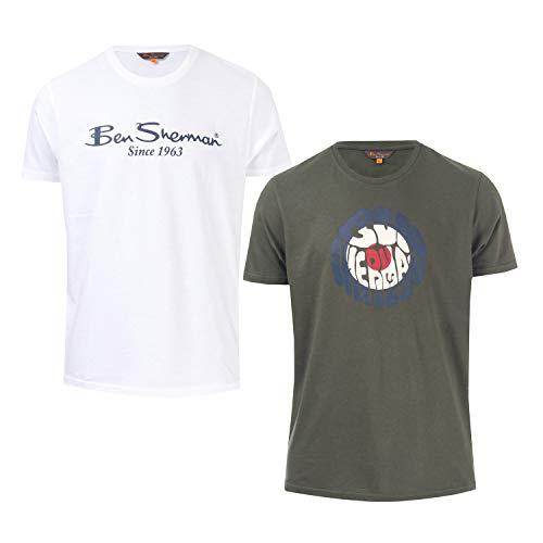 Ben Sherman Herren-T-Shirt, 2 Stück, Weiß Gr. L, weiß