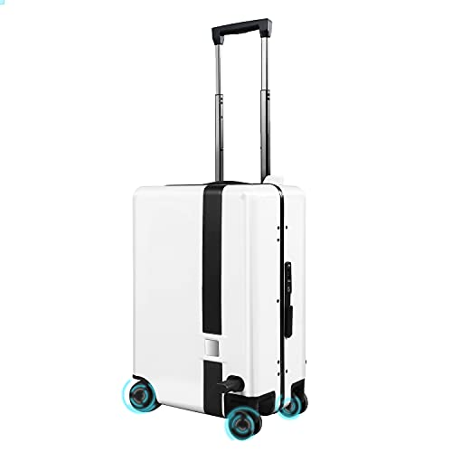 Auto-follow Smart Luggage 20 Inch Carry-on Suitcase with Built-in TSA Lock, Smart Riding Suitcase with APP, Side-Follow Robot, Trolley Suitcase with Anti-Lost Alarm