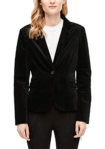 s.Oliver RED Label Damen Taillierter Blazer aus Samt Black 38
