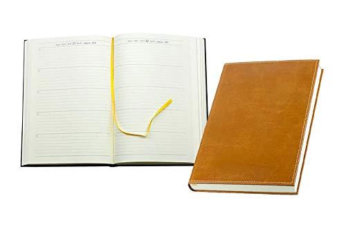 DELMON VARONE - Personalisierbarer 5 Jahres Kalender 2020-2021 - 2022-2023 - 2024 gebunden Anilin Leder braun, Organizer Kalenderbuch mit Tagesübersicht, Notizbuch Planer im Hardcover Ledereinband
